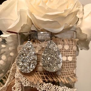 Silver sparkle faux leather hand crafted tear drop